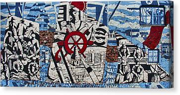 Mural On Wall At Mallaig Harbour In Scotland  Canvas Print by Zoe Ferrie