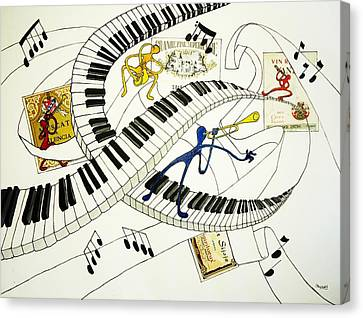 Musical Happy People With Wine Canvas Print by Glenn Calloway