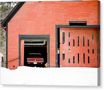 Mustang Car Barn Canvas Print by Edward Fielding