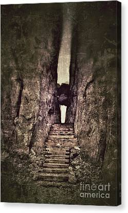 Mysterious Stairway Into A Canyon Canvas Print by Jill Battaglia