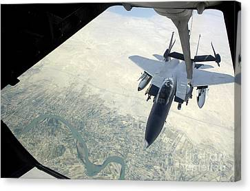 N F-15e Strike Eagle Receives Fuel Canvas Print by Stocktrek Images