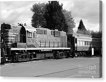 Napa Valley Railroad Wine Train Locomotive In Napa California Wine Country . Black And White . 7d899 Canvas Print by Wingsdomain Art and Photography