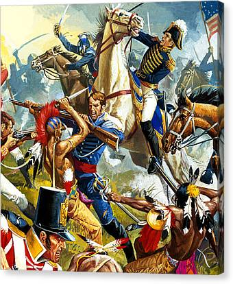 Native American Indians Vs American Soldiers Canvas Print by Severino Baraldi