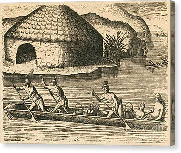 Native Americans Transporting Crops Canvas Print by Photo Researchers