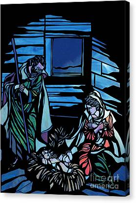 Nativity Stained Glass Canvas Print by Methune Hively