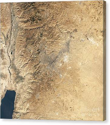 Natural-color Satellite View Of Amman Canvas Print by Stocktrek Images