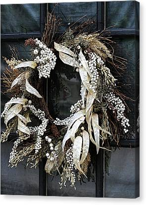 Natural Earthtone Wreath Canvas Print by Kathy Clark