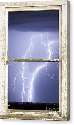 Nature Strikes White Rustic Barn Picture Window Frame Photo Art Canvas Print by James BO  Insogna