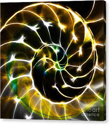 Nautilus Shell Ying And Yang - Electric - V1 - Gold Canvas Print by Wingsdomain Art and Photography