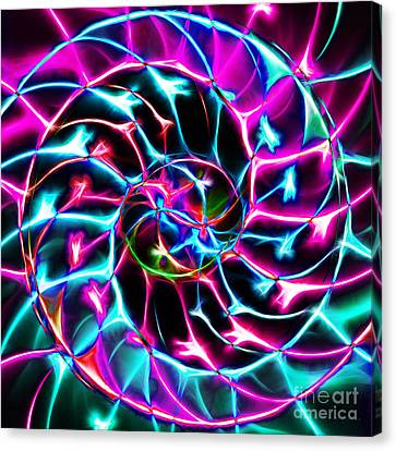 Nautilus Shell Ying And Yang - Electric - V2 - Violet Canvas Print by Wingsdomain Art and Photography