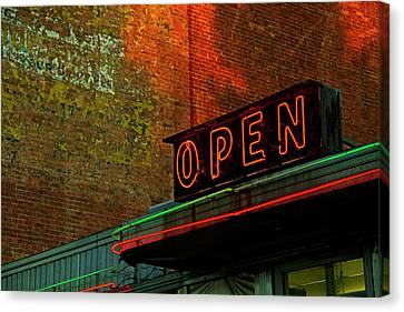 Neon Open Sign On Old Diner Hotel Canvas Print by Matt Champlin