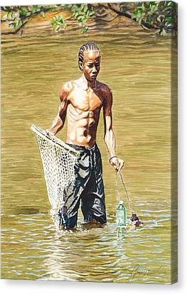 Netfishing Canvas Print by Gregory Jules