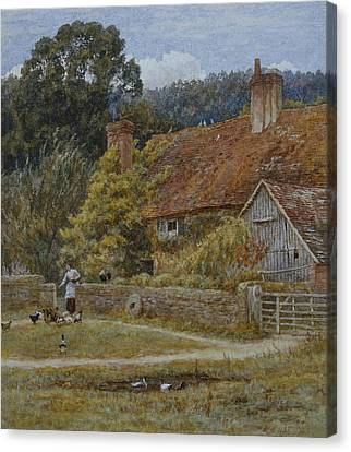 Netley Farm Shere Surrey Canvas Print by Helen Allingham