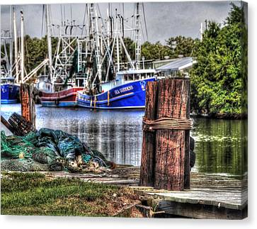Nets And The Sea Goddess Canvas Print by Michael Thomas