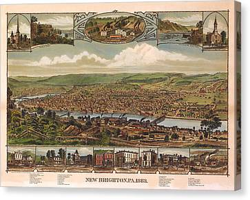 New Brighton Pennsylvania 1883 Canvas Print by Donna Leach