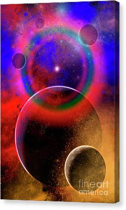 New Planets And Solar Systems Forming Canvas Print by Mark Stevenson