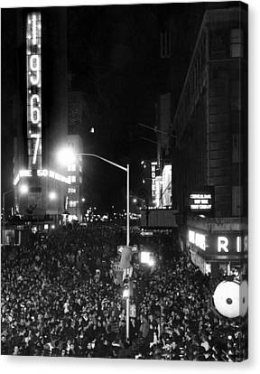 New Years Eve Celebration In Times Canvas Print by Everett