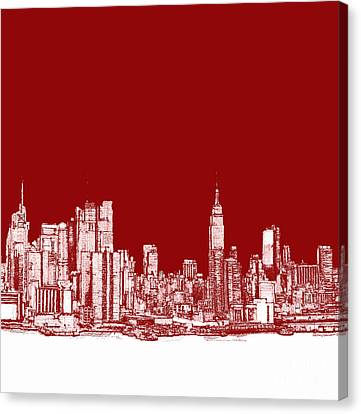 New York City Red Skyline  Canvas Print by Building  Art
