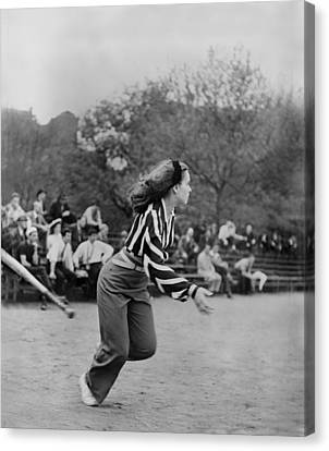 New York City, Woman Playing Softball Canvas Print by Everett