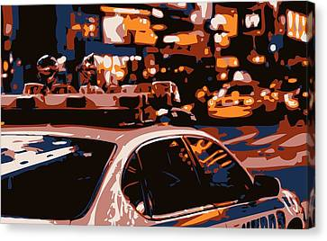 New York Cop Car Color 6 Canvas Print by Scott Kelley