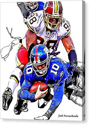 New York Giants Eli Manning -san Francisco 49ers Parys Haralson Canvas Print by Jack K