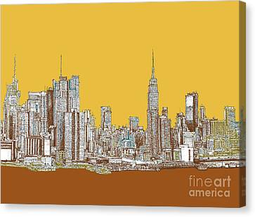 New York Mustard Sepia Canvas Print by Building  Art