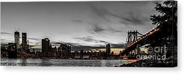 New Yorks Skyline At Night Colorkey Canvas Print by Hannes Cmarits