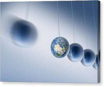 Newtonian Earth, Conceptual Artwork Canvas Print by Detlev Van Ravenswaay