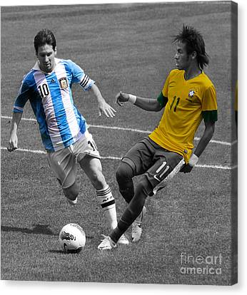Neymar And Lionel Messi Clash Of The Titans Black And White Canvas Print by Lee Dos Santos
