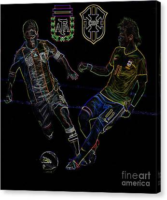 Neymar And Lionel Messi Clash Of The Titans Neon Canvas Print by Lee Dos Santos
