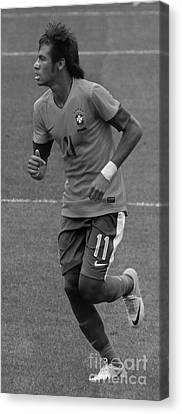 Neymar Running Black And White Canvas Print by Lee Dos Santos