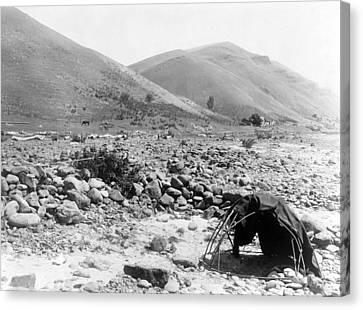 Nez Percé Sweat-lodge. Edward S. Curtis Canvas Print by Everett