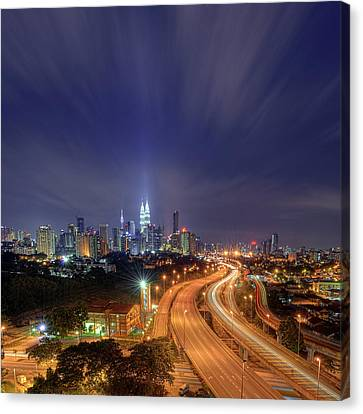 Night At  Kuala Lumpur Canvas Print by Zackri Zim's Photography