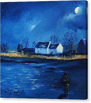 Night Fishing On The Forth Canvas Print by Margaret Denholm