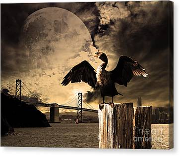 Night Of The Cormorant Canvas Print by Wingsdomain Art and Photography