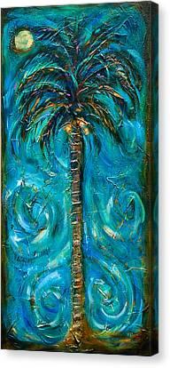 Night Palm Canvas Print by Linda Olsen