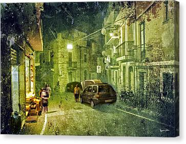 Night Scene In Sicily 2 Canvas Print by Madeline Ellis