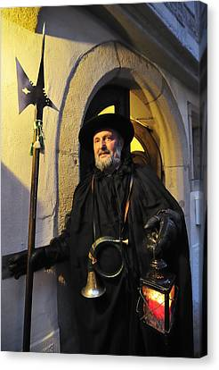 Night Watchman In Old Historic Town Canvas Print by Matthias Hauser