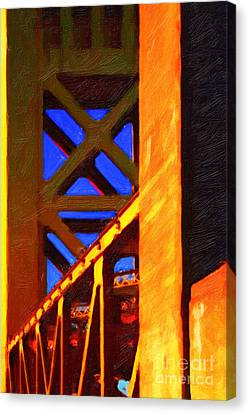 Nightfall Over Sacramento In Abstract . Vision 2 Canvas Print by Wingsdomain Art and Photography