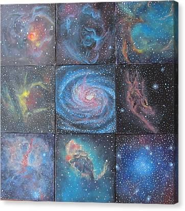 Nine Nebulae Canvas Print by Alizey Khan