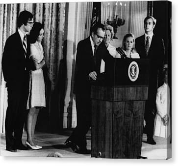 Nixon Presidency. From Left David Canvas Print by Everett