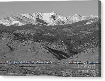 North Boulder Colorado Front Range View Bw Canvas Print by James BO  Insogna