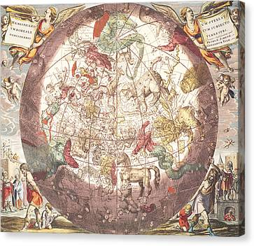 Northern Boreal Hemisphere From The Celestial Atlas Canvas Print by Pieter Schenk