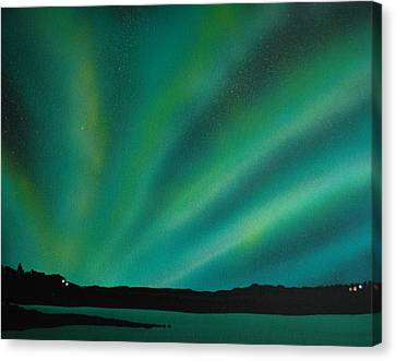 Northern Lights Cabin 3 Canvas Print by DC Decker