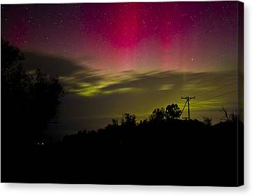 Northern Lights In Michigan Canvas Print by Joe Gee