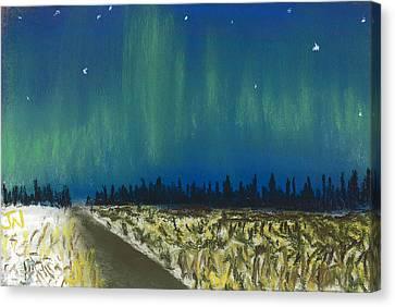 Northern Lights Road Trip Canvas Print by Jackie Novak