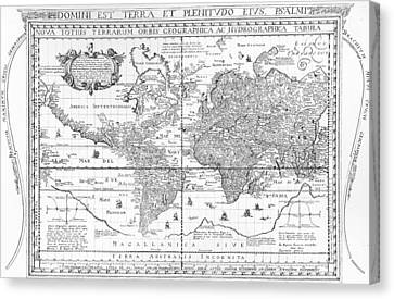 Nova Totius Terrarum Orbis Geographica Ac Hydrographica Tabula Canvas Print by Dutch School