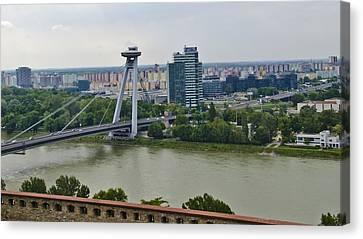 Novy Most Bridge - Bratislava Canvas Print by Jon Berghoff