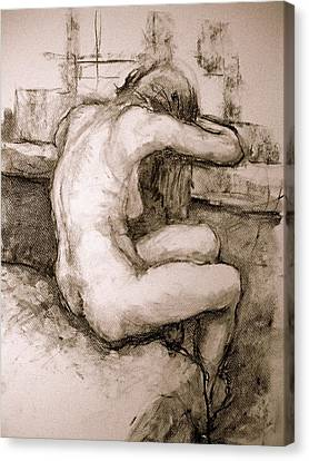Nude On The Window Canvas Print by Alfons Niex