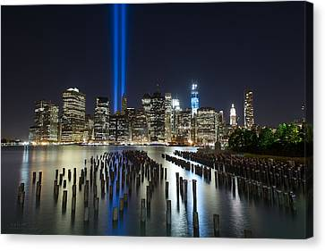 Nyc - Tribute Lights - The Pilings Canvas Print by Shane Psaltis